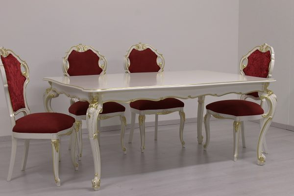 Princess dinner table 180x120 white and gold