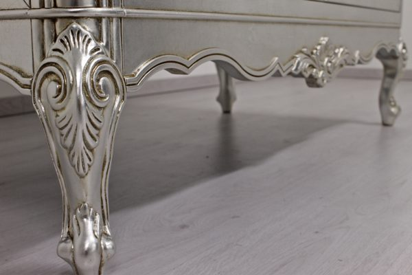 Regina cupboard detail of silvering and baroque carving